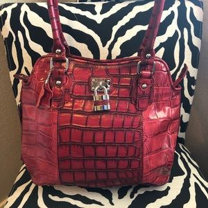 NWOT Madi Claire Laura croc embossed red tote